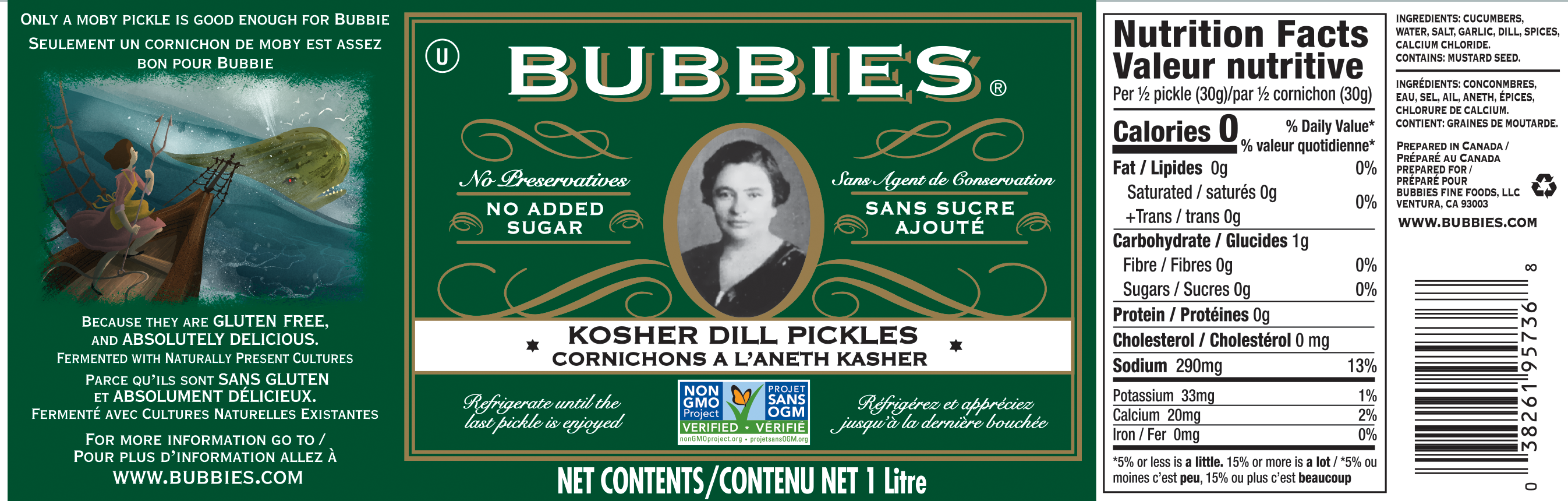 Bubbies Kosher Dill Pickles Label Canada / Bubbies Cornichons a l'aneth kasher Canada